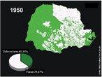 As regiões florestais são representadas em cor verde. </br></br> Palavra-chaves: Paraná, cobertura florestal, 1950.