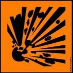 A natureza de substâncias perigosas pode ser identificada por meio de ícones que devem constar nos rótulos dos produtos. Significado do símbolo:Substâncias e preparações que podem explodir sob o efeito da chama ou que são mais sensíveis aos choques ou às fricções que o dinitrobenzeno. Evitar batida, empurrão, fricção, faísca e calor. <br /><br /> Palavras-chave: simbolos, rótulos, produtos químicos, explosivo.