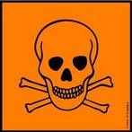 A natureza de substâncias perigosas pode ser identificada por meio de ícones que devem constar nos rótulos dos produtos. Significado do símbolo: Substâncias e preparações que, por inalação, ingestão ou penetração cutânea, podem implicar riscos graves, agudos ou crónicos, e mesmo a morte. Todo o contato com o corpo humano deve ser evitado. <br /><br /> Palavras-chave: simbolos, rótulos, produtos químicos, tóxico.