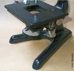 A mesa ou platina é o local onde se fixa a preparação a observar; tem uma janela por onde passam os raios luminosos e também parafusos dentados que permitem deslocar a preparação. <br /><br /> Palavras-chave: microscópio óptico, microscópio de luz, microscopia.